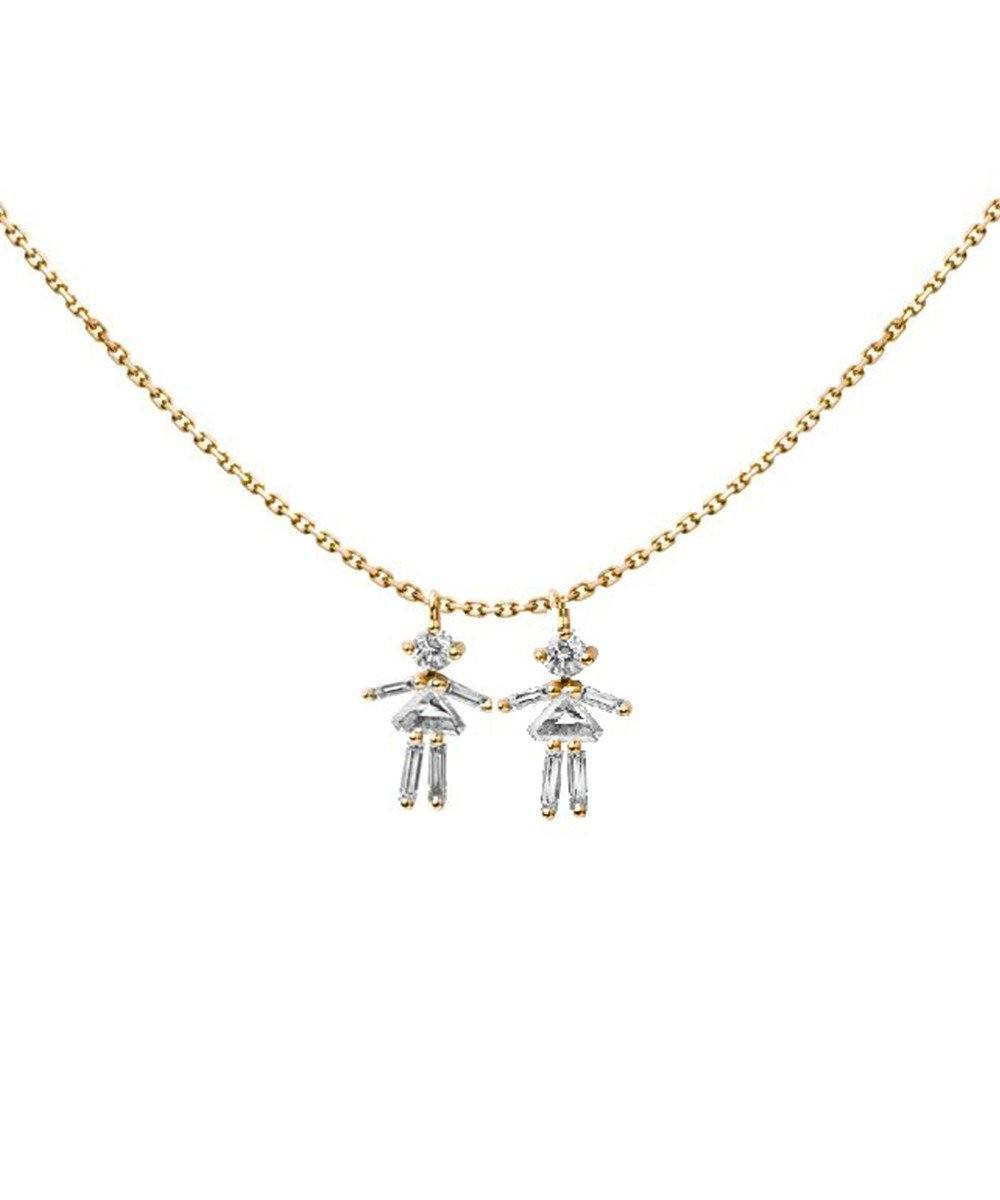 Yellow gold customizable necklace with diamonds - Little Ones Paris