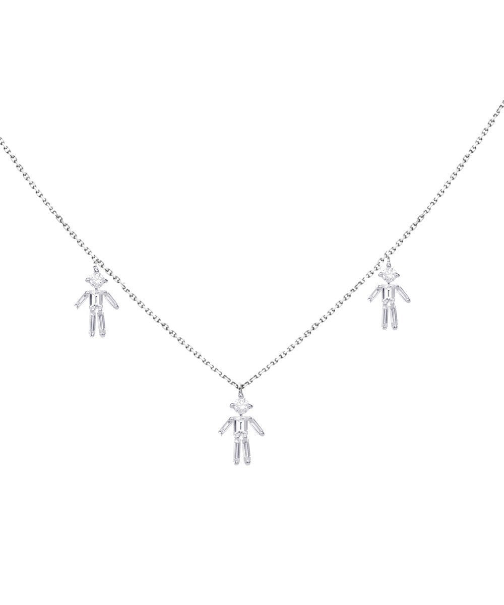 White gold customizable triple necklace with diamonds - Little Ones Paris