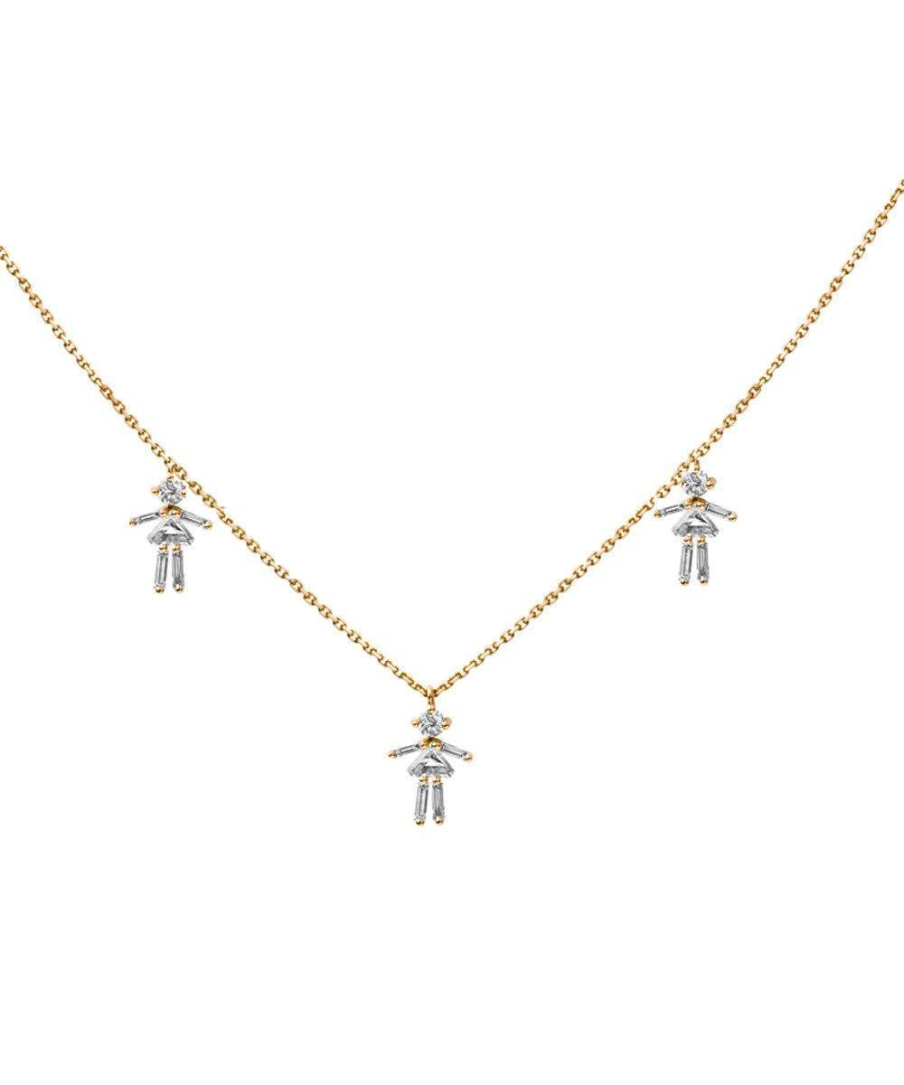 Yellow gold customizable triple necklace with diamonds - Little Ones Paris