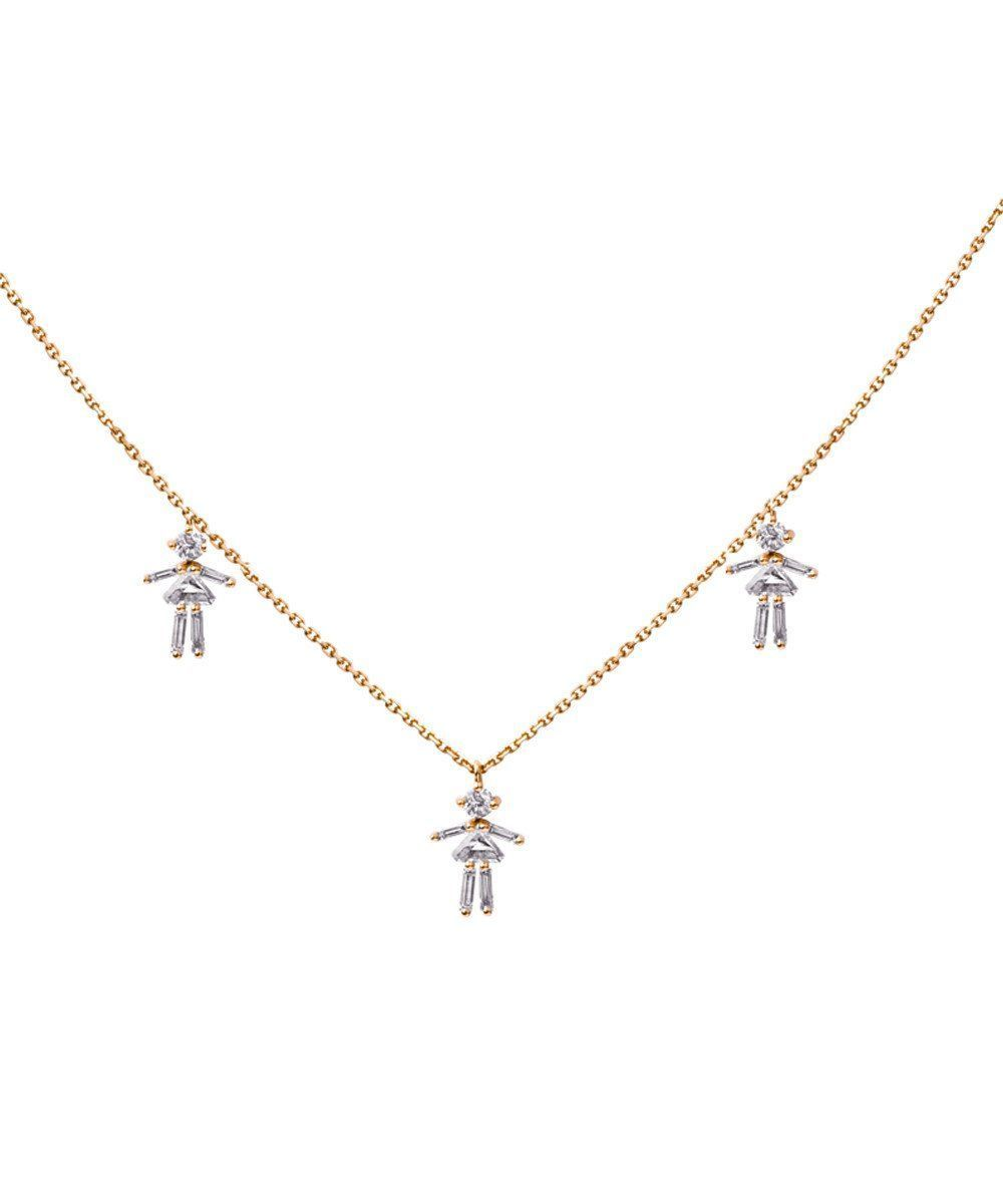 Customizable pink gold triple necklace with diamonds - Little Ones Paris