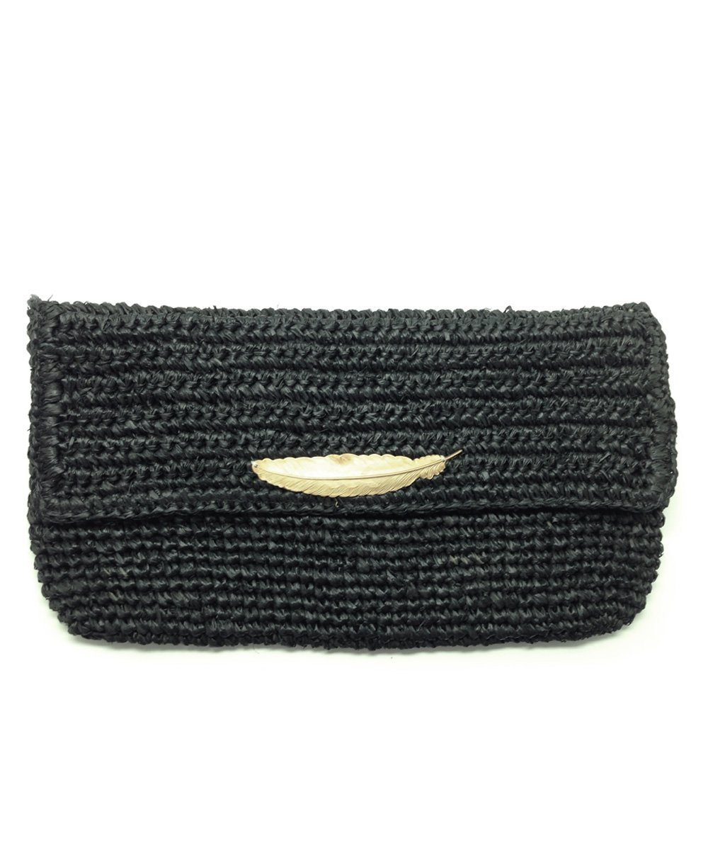 pouch-raffia-black Editions LESSisRARE
