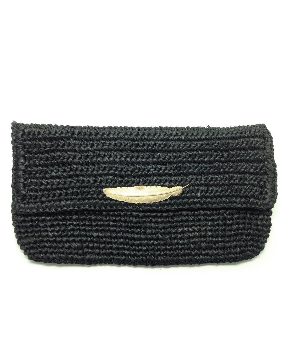 Black raffia clutch bag - Editions LESSisRARE