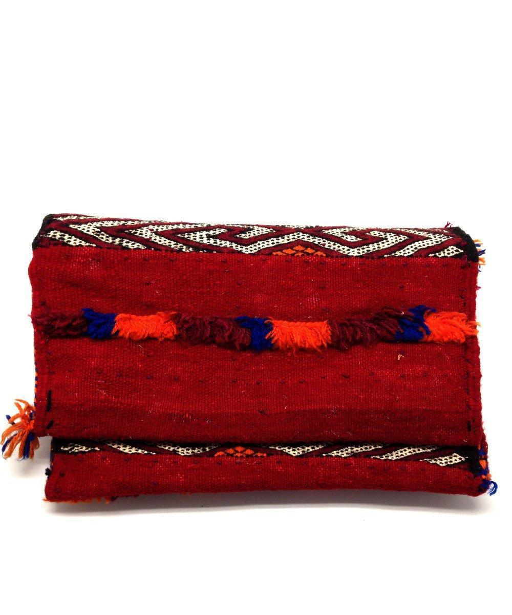 Kilim Pouch with fringes - Red - El Jenna