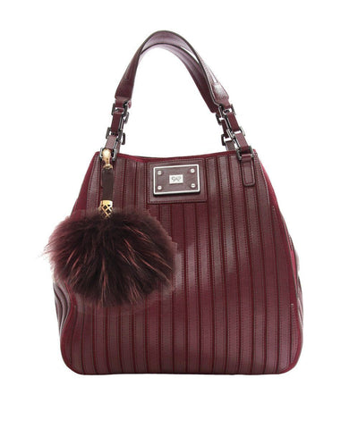 Marmot and burgundy leather pompom bag jewelery Editions LESSisRARE worn