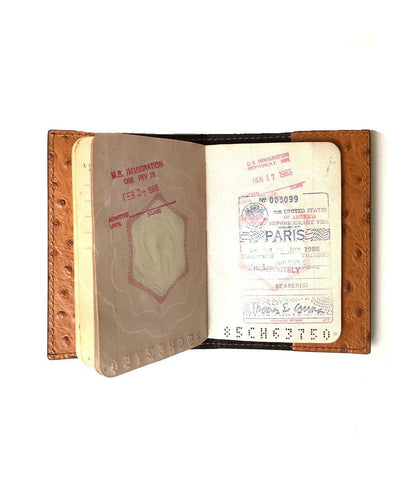 leather camel passport holder