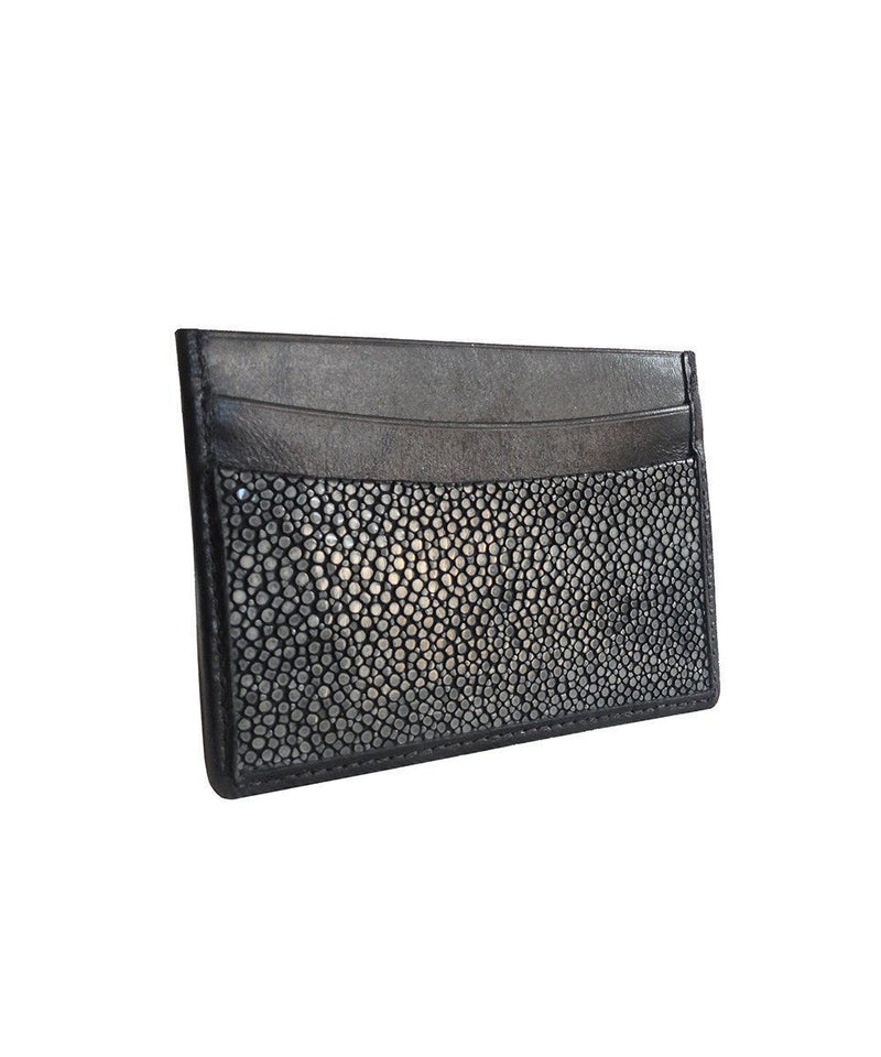 Black shagreen card holder - Galerie Galuchat