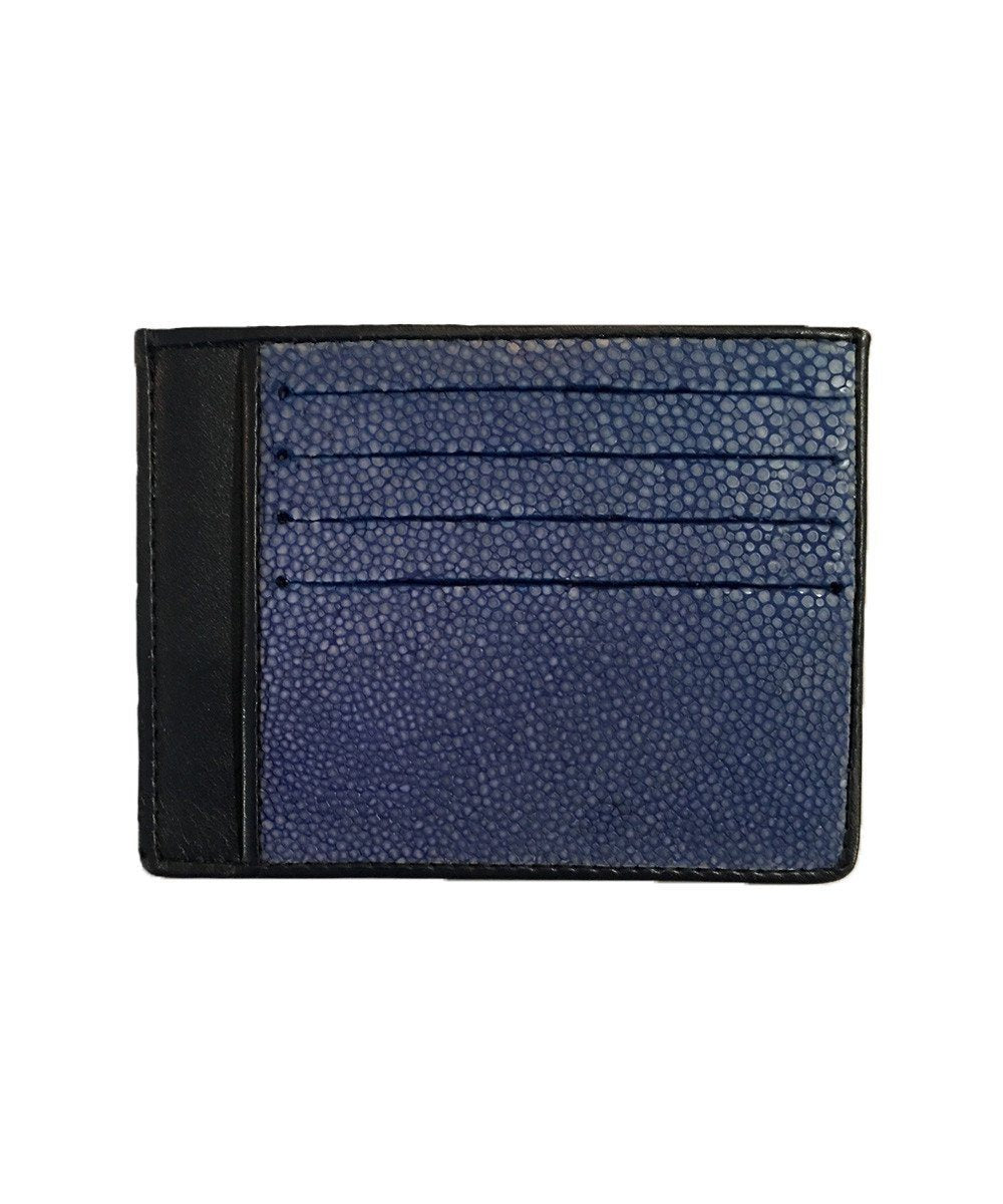 Blue shagreen card holder - Large size - Galerie Galuchat