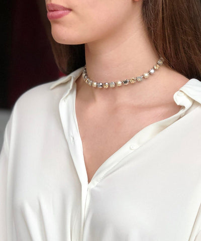 vogline-collar Swarovski crystal-and-pearl-creme-worn
