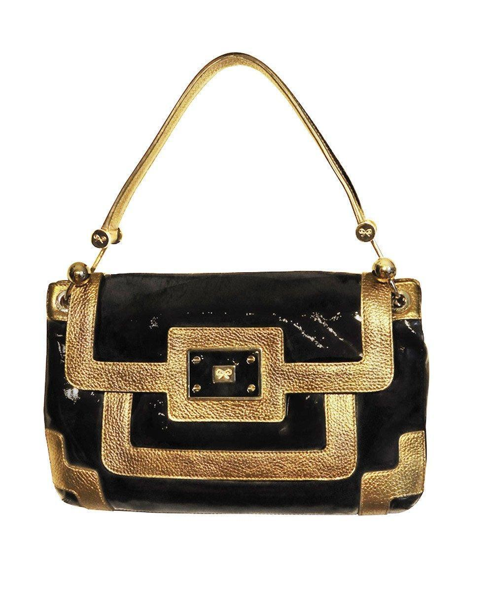 Black and gold patent leather handbag - Anya Hindmarch