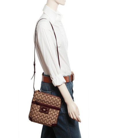 anya-hindmarch-bag pouch-hands-free-en-canvas-logo-brown