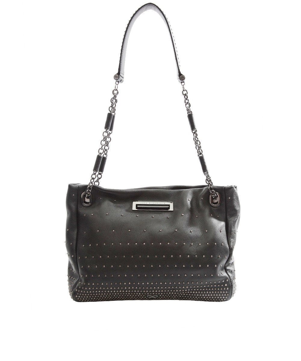 Bilton bag in black studded calfskin - Anya Hindmarch