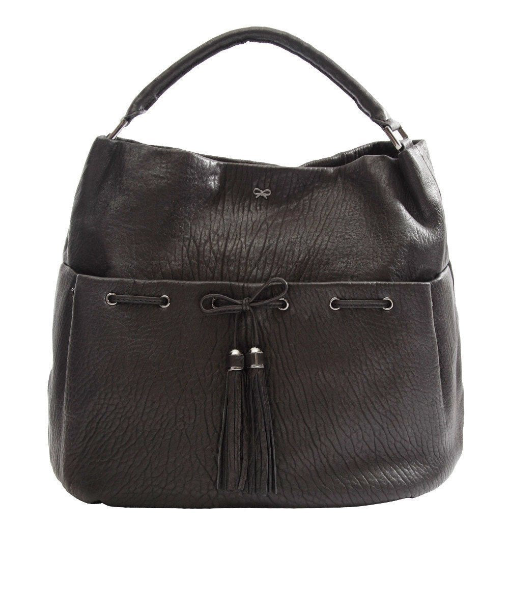 Lacing bag in black grained leather - Anya Hindmarch