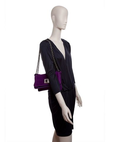 Azzaro wallet-bag-Hangzou-in-velvet-purple worn 1