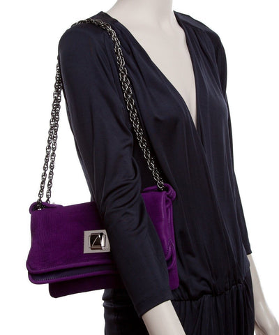 Azzaro wallet-bag-Hangzou-in-velvet-purple worn