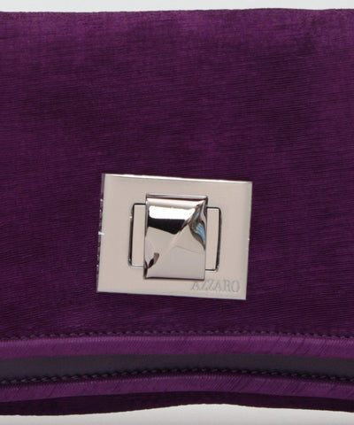 Azzaro wallet-bag-Hangzou-in-velvet-purple worn 2
