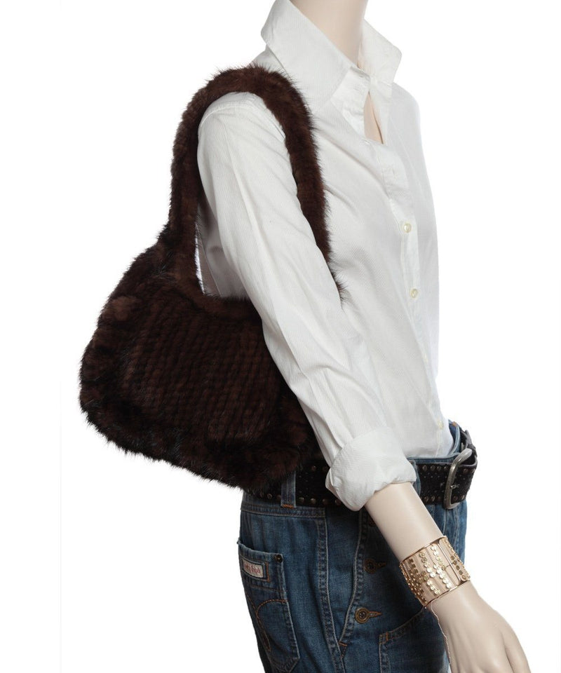 Small Knitted mink bag brown - Editions LESSisRARE