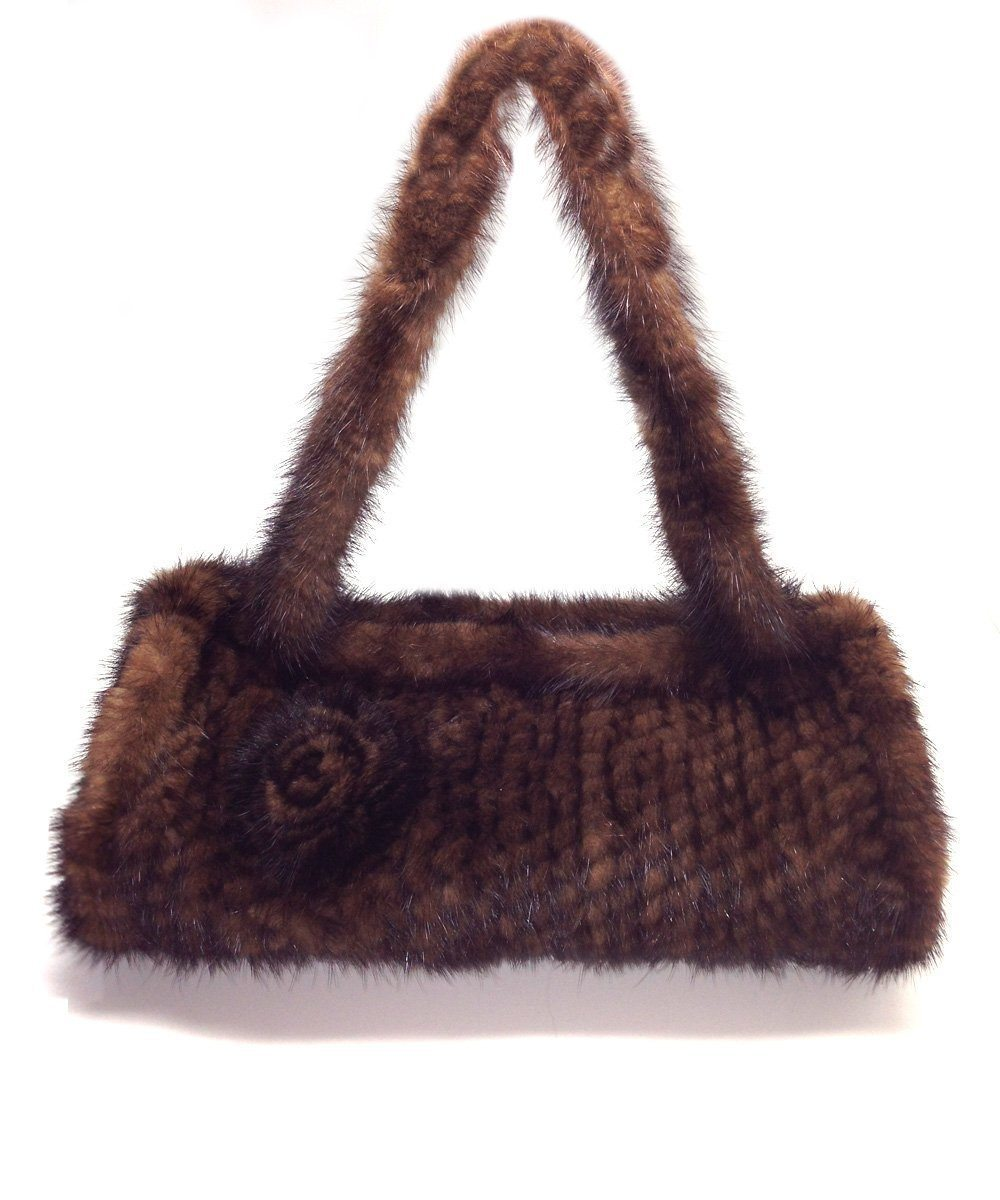 Knitted mink bag brown - Editions LESSisRARE