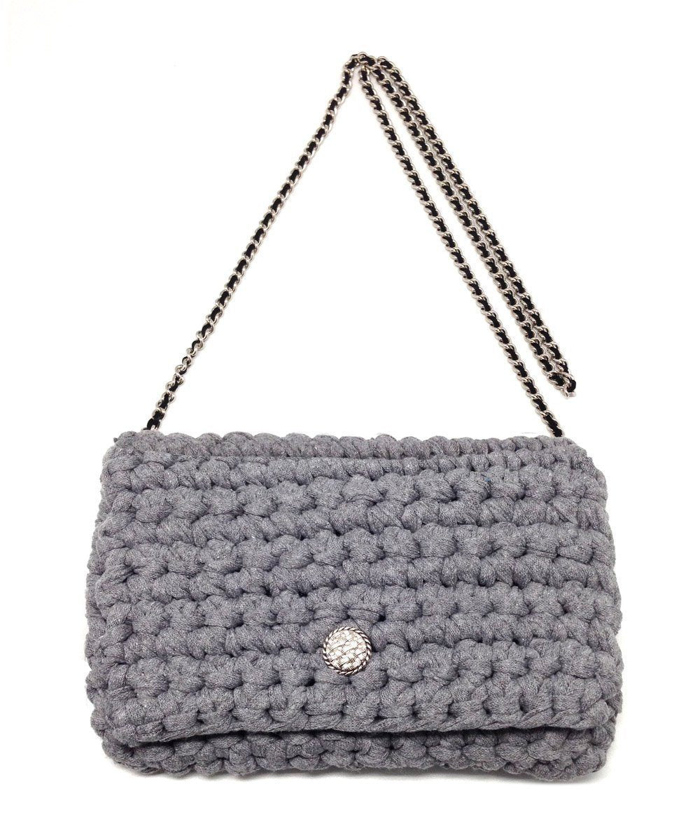 Classical M Gray Hook Bag, silver chain