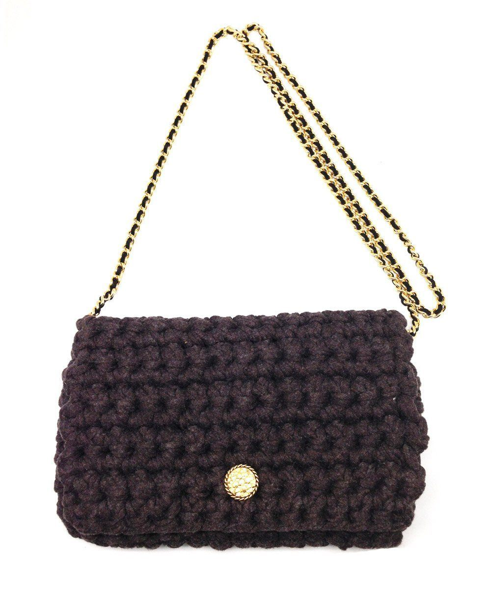 Brown Classical M crochet bag, gold chain - Marieta Cox