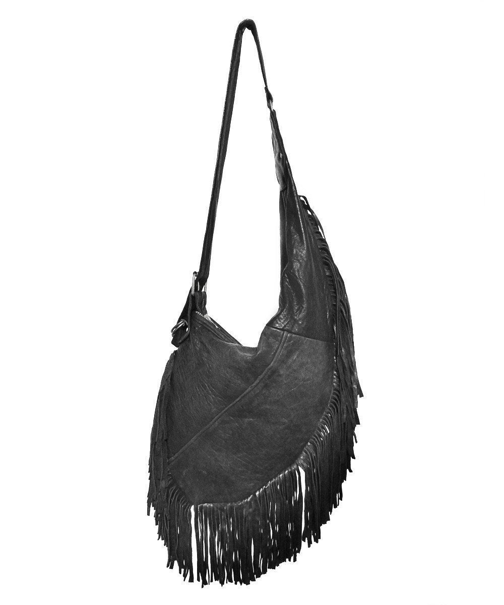 Long black leather fringe bag - PeleCheCoco
