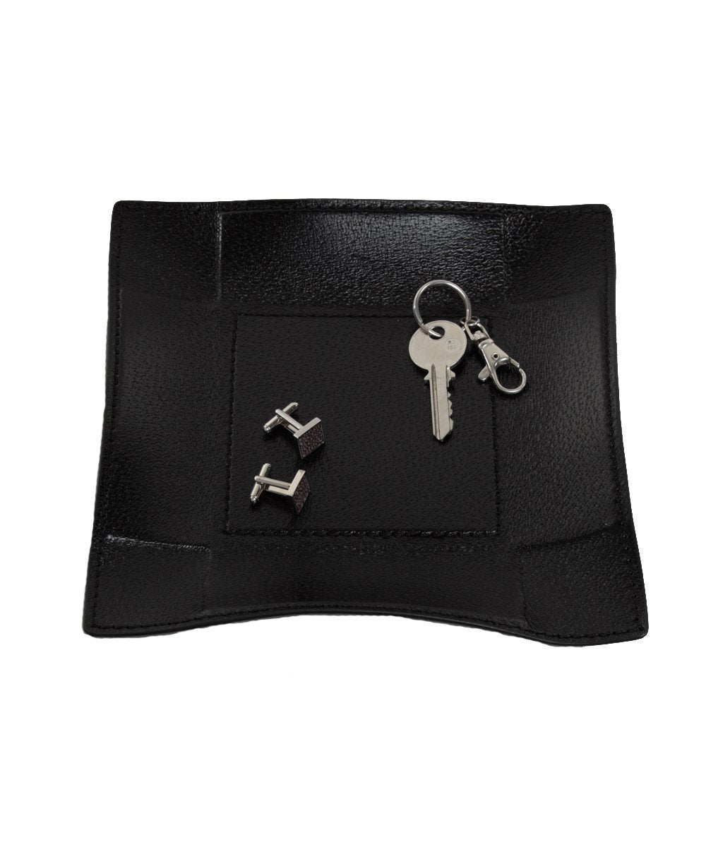 Empty black leather square pocket - Bhome