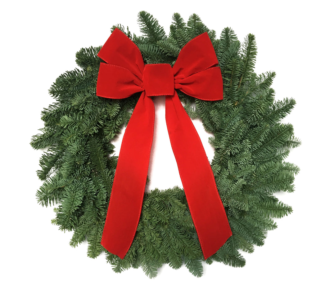 Fresh Noble Wreath with Red Bow - 5 per case