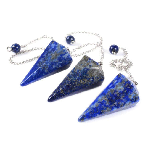 Natural Lapis Gemstone Hexagonal Pointed Reiki Chakra Pendant Pendulum