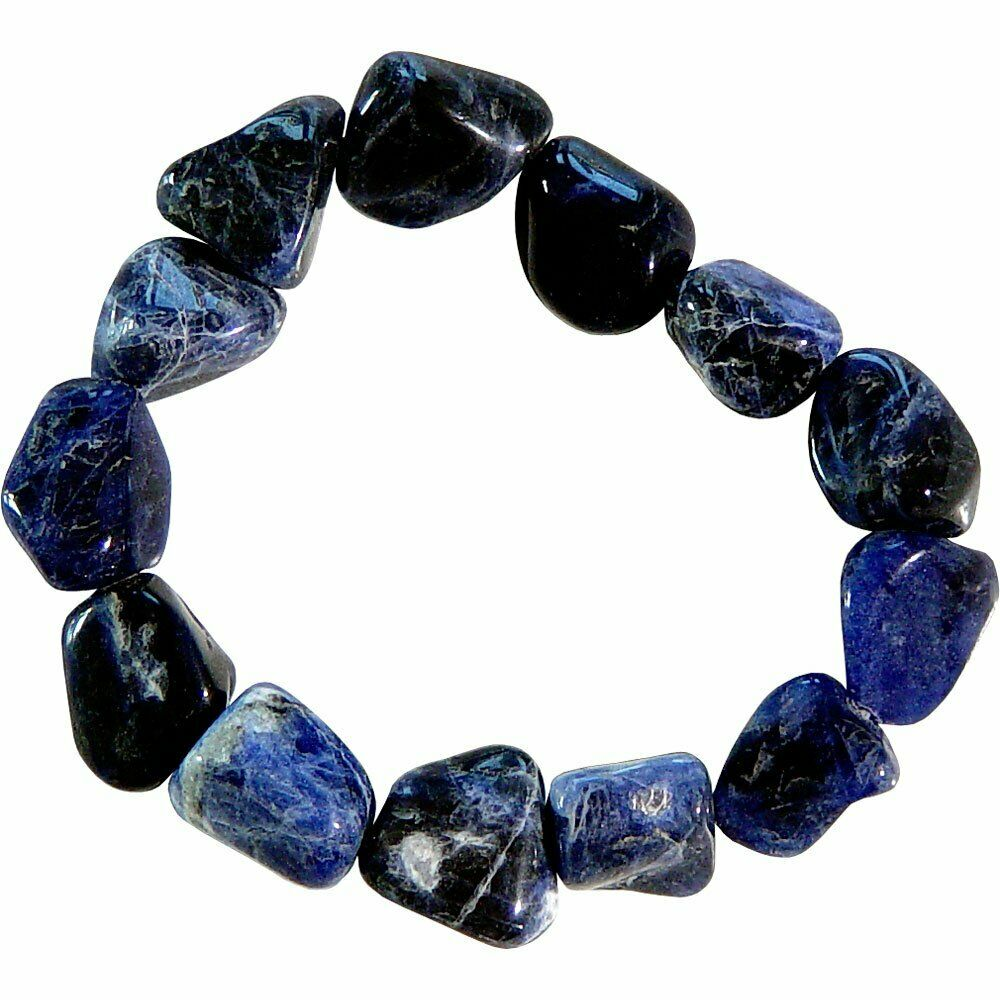 Sodalite Stone Crystal Bracelet Tumble Polished Stretchy