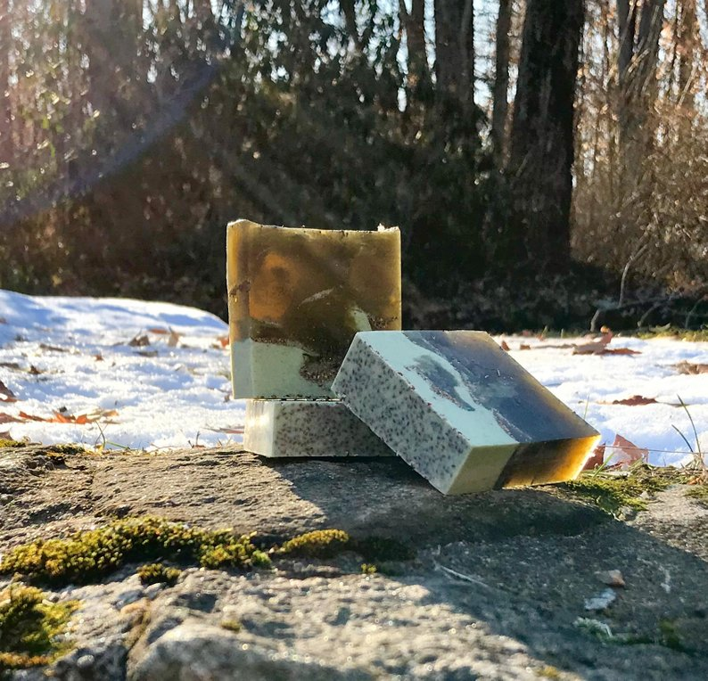 Gardener's Handmade Soap with Spirulina and Blueberry Seeds