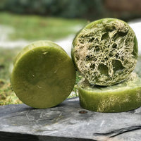 Green Apple Luffah Soap for Skin Brushing with Aloe Vera