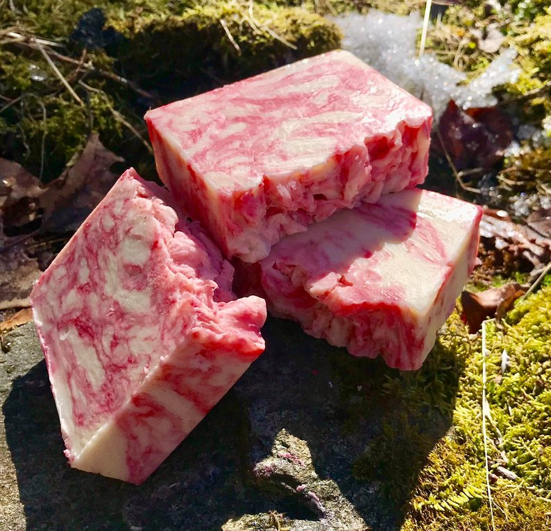 Champagne Pomegranate Handcrafted All Natural Soap with Aloe and Kaolin Clay