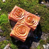 Rose Gold Handmade Triple Butter Vegan Soap with Pink Rose Clay