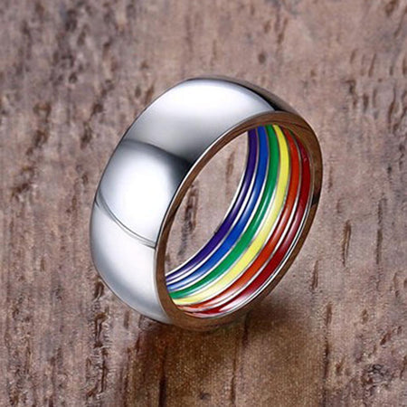 Gay Pride Ring - Rainbow Inside