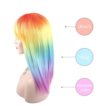 Carley - Rainbow Long Wig - Straight Hair