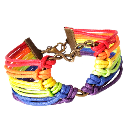 Lesbian Flag Colors With Heart - Rainbow Bracelet