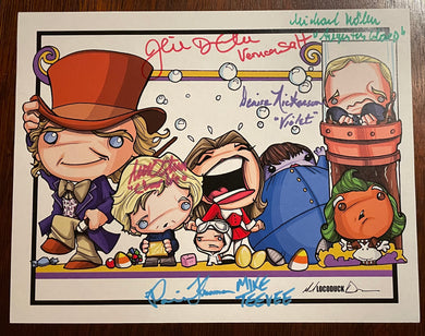 "8 1/2"" X 11"" LOCODUCK WONKA PRINT - AUTOGRAPHED BY FIVE"
