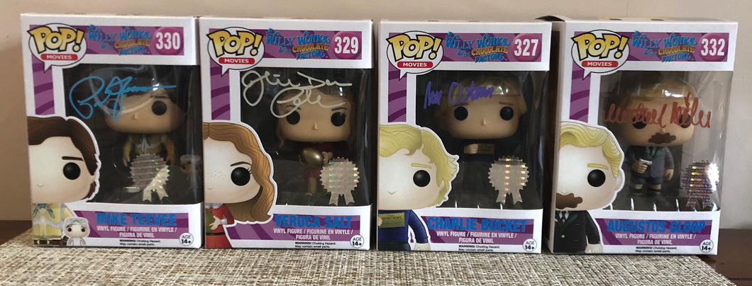 SET OF FOUR FUNKO POP VINYLS – AUTOGRAPHED BY FOUR!