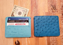 Ostrich Leather 2 Sided Credit Card and Cash Wallet