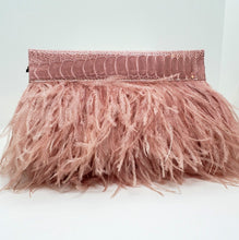Ostrich Feather Clutch with Ostrich Shin detail