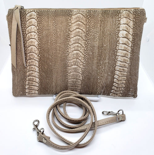 Ostrich Shin Clutch/Handbag - Natural