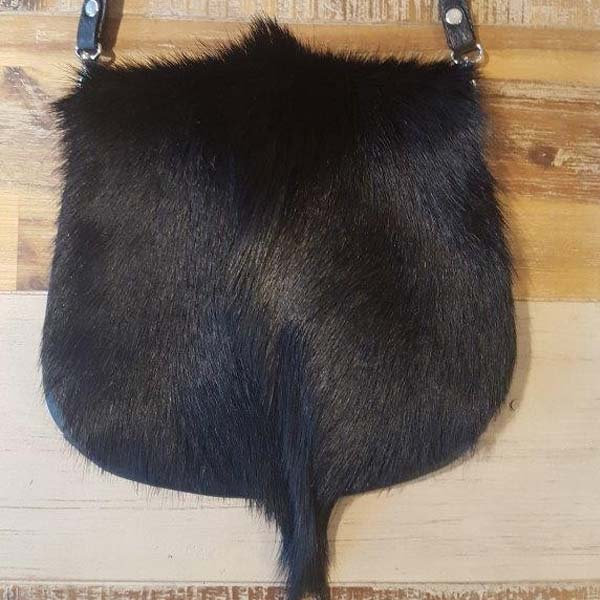 Althea Black Springbok Hide Saddle Bag