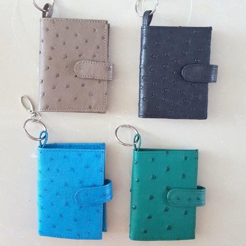 Ostrich Leather Keyring with Licence and Credit Card Holder