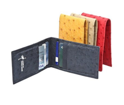 Ostrich Leather Credit Card Folder