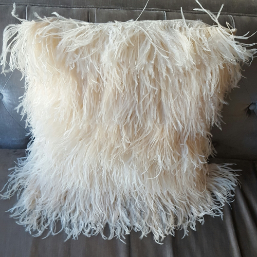 Ostrich Feather Cushion Cover 18x18