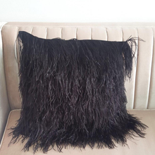 Ostrich Feather Cushion Cover 18x18""
