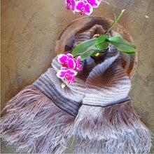 Ostrich Feather & Mohair Lace-Knit Scarf