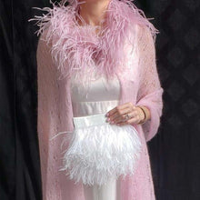 Mohair Lace Cape with Ostrich Feathers