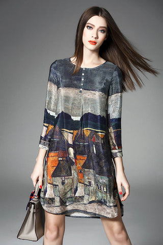 Women Vintage Real Silk Dress- A-line Printing -Top Quality
