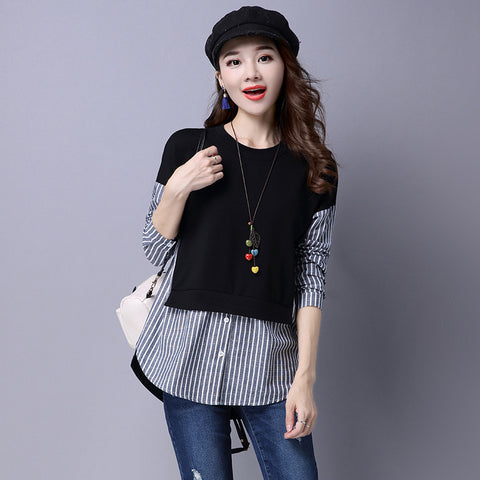 Gender: Women Brand Name: Mikialong Sleeve Length(cm): Full Collar: O-Neck Style: Casual Pattern Type: Striped Fabric Type: Broadcloth Material: Cotton Decoration: None Clothing Length: Regular Sleeve Style: Regular