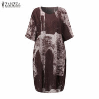 Brand Name: ZANZEA Material: Cotton and Linen Style: Vintage Silhouette: Loose Pattern Type: Print Sleeve Length(cm): Half Decoration: Pockets Dresses Length: Knee-Length Sleeve Style: Regular Waistline: Natural Neckline: O-Neck Season: Summer